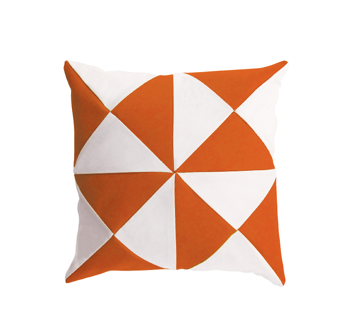 triangle cushion orange/white