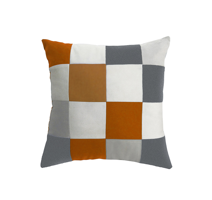 square cushion orange/white
